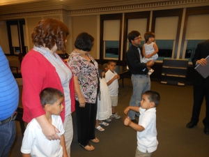 Me giving my testimony... Our youngest son receiving the testimony of her mother of what will happen if he doesn't get back in line.